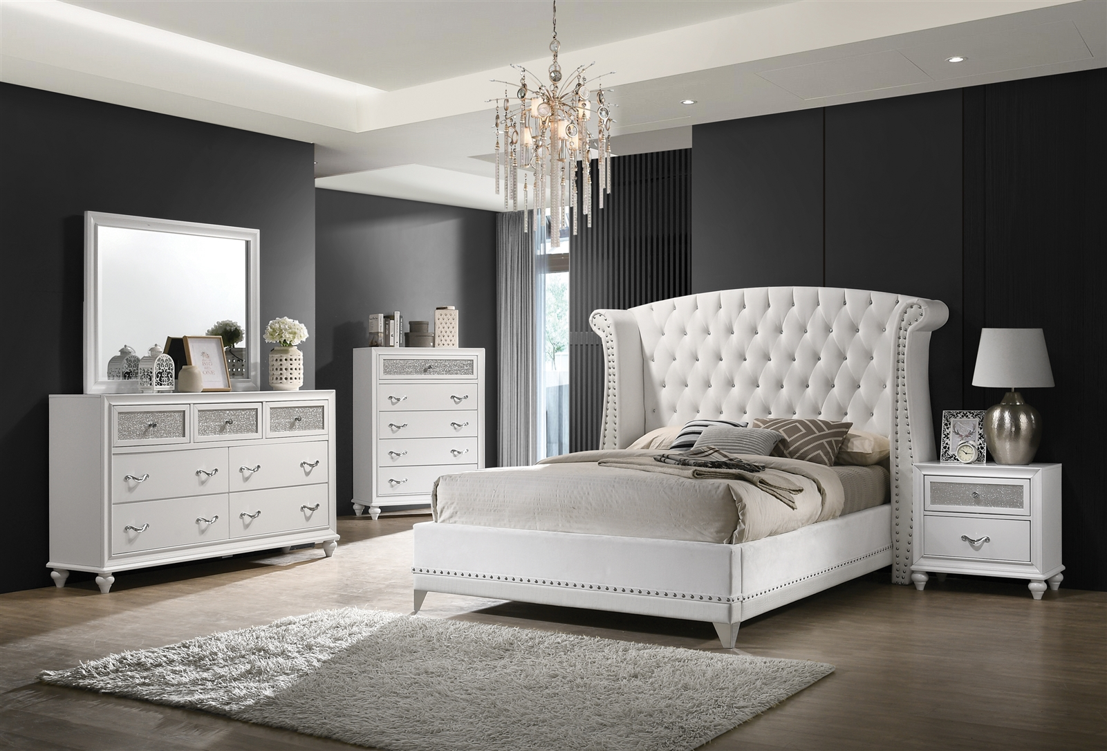 Modern White Finish Tufted Bedroom Collection With Silver Accent Trim