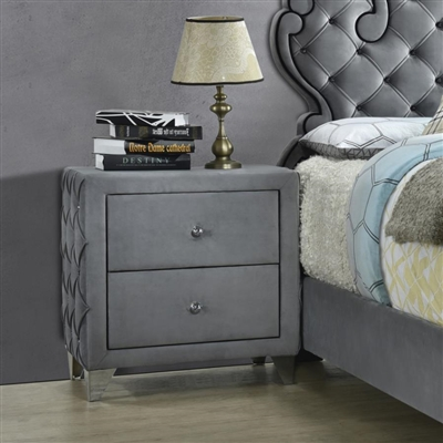 Sandboard 2-Drawer Button Tufted Nightstand Grey - Coaster