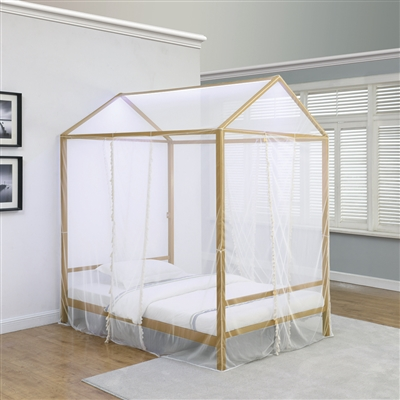 Matte Gold Finish Metal Canopy Bed with Sheer White Netting