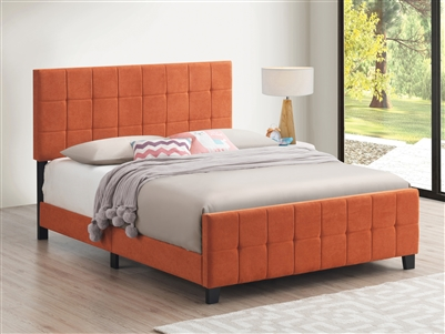Tufted Upholstered Bed in Orange