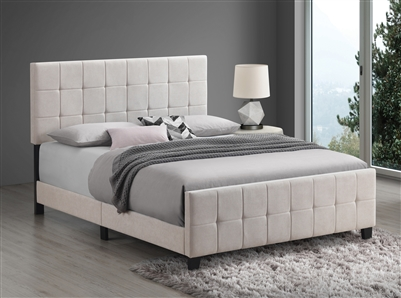 Tufted Upholstered Bed in Beige