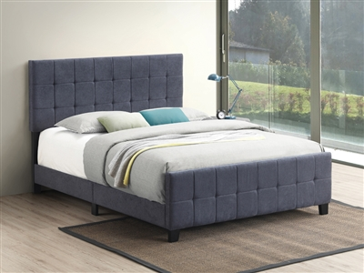 Tufted Upholstered Bed in Gray