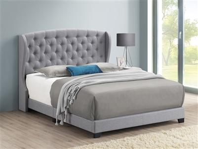 Grey Linen Upholstered Demi-Wing Bed - Coaster 305971