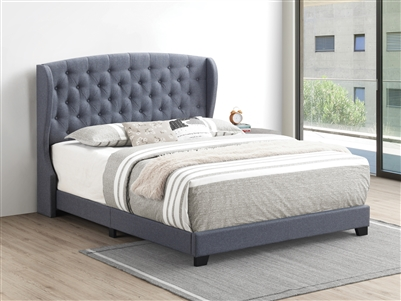 Grey Linen Upholstered Demi-Wing Bed - Coaster 305972