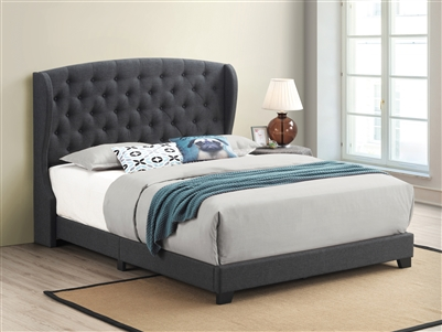 Grey Linen Upholstered Demi-Wing Bed - Coaster 305973