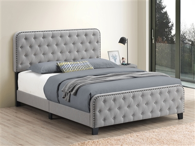 Mineral Grey Button Tufted Bed with Brass Nailhead Trim- Coaster 305992