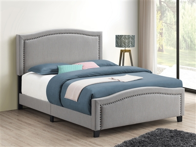 Mineral Grey Upholstered Bed with Brass Nailhead Trim- Coaster 306011