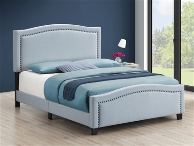 Blue Upholstered Bed with Brass Nailhead Trim- Coaster 306013