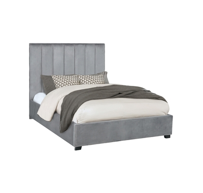 Arles Queen Channel Tufted Bed in Gray