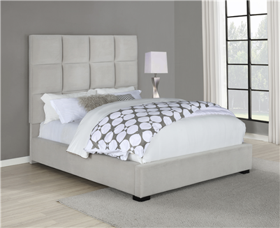 Panes Beige Velvet Upholstered Queen Bed