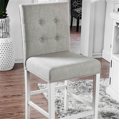 Light Grey Button Tufted Linen Counter Height Chair with Bright White Legs