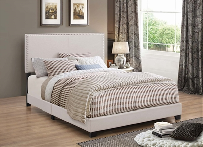 Ivory Fabric Upholstered Twin Bed with Nailhead Trim