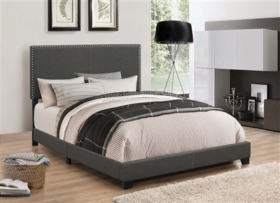 Indi Charcoal Grey Upholstered Bed With Chrome Nailhead Trim