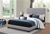 Contemporary Light Grey Upholstered Bed with Chrome Nailhead Trim