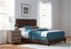 Contemporary Brown Leatherette Upholstered Bed with Nailhead Trim