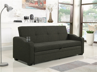 Transitional Charcoal Upholstered Sleeper Sofa