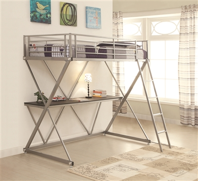 Twin over workstation loft bed