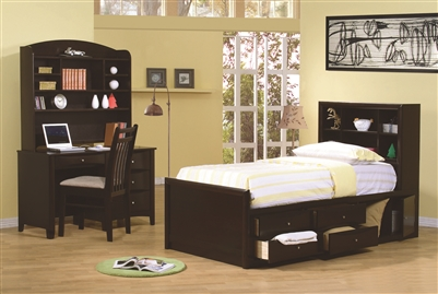 Youth Storage Bed with Bookcase Headboard in Cappuccino