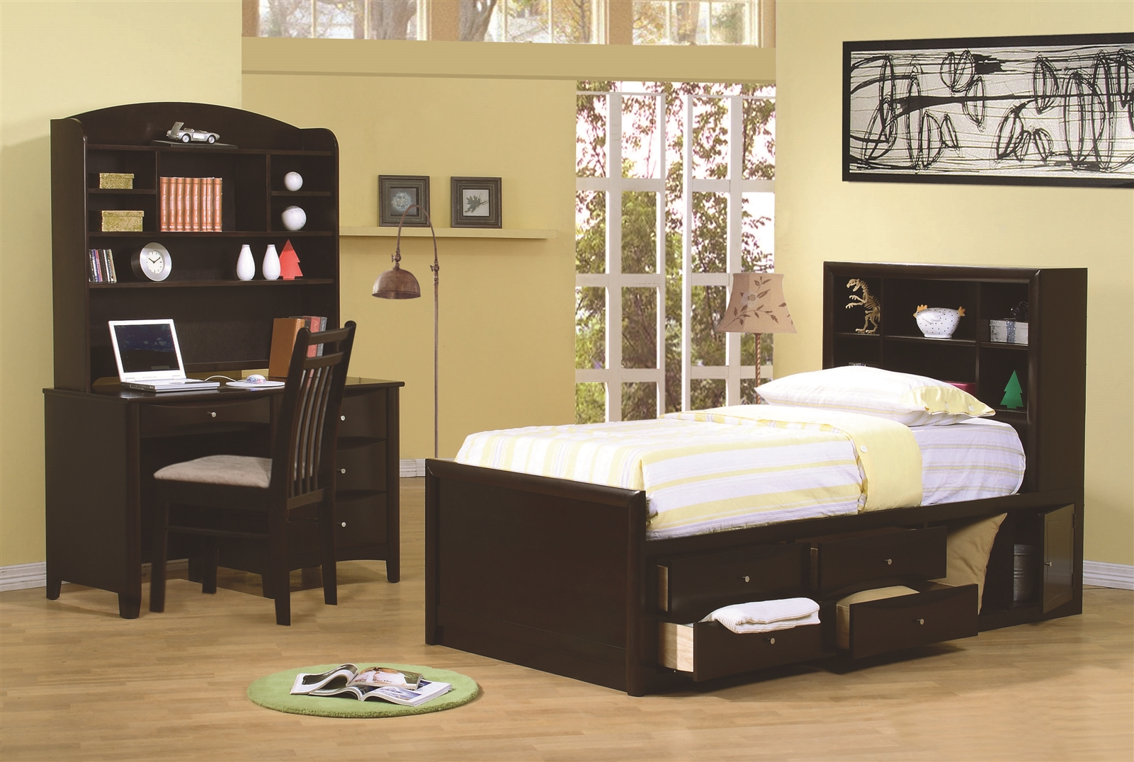 Bookcase Headboard phoenix twin chest bed w/ bookcase headboard
