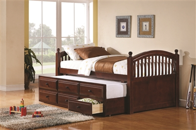 Chestnut Finish Wood Twin Captains Bed with Trundle