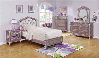 Twin Size Champagne Finish Upholstered Bed