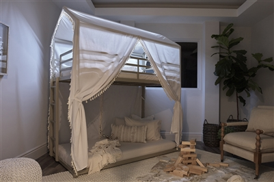 Belton Canopy Bunk Bed with LED Lighting in Champagne Finish