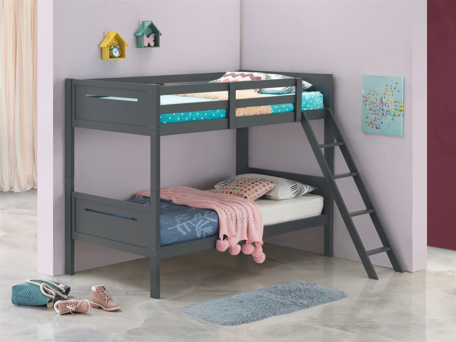 Solid Wood Twin Over Bunk Bed