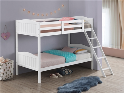 Littleton Solid Wood Twin over Twin Bunk Bed Available in 5 Colors