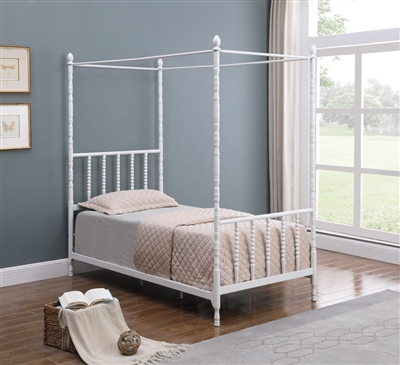 Harold Twin Size White Metal Canopy Bed - Coaster Furniture 406055