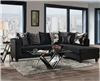 Black Microfiber Tuxedo Style Chaise Sectional