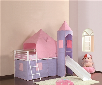 Twin Size Princess Castle Theme Loft Bed with Slide