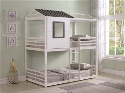 Laughton Light Grey Twin over Twin Bunk Bed