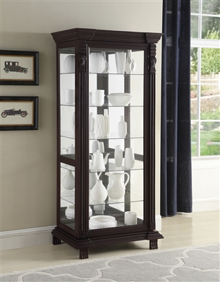Deeann Traditional Curio with LED Lighting & Mirrored Back Panel