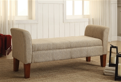 Storage Bench With Storage Tan And Brown - Coaster 500076