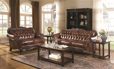 Traditional style 100% top grain leather sofa group