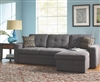 Charcoal grey chenille fabric sectional sofa with pull out bed and hidden storage