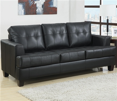 Black Leatherette Sofa With Tufted Cushions & Pull Out Bed