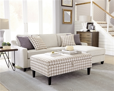 Transitional Style Upholstered Sectional Available in Grey or Cream Linen