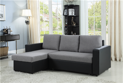 Modern Gray & Black Sleeper Sectional with Storage Chaise