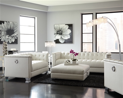 Modern Pearl White Finish Tufted Leatherette Living Room Group
