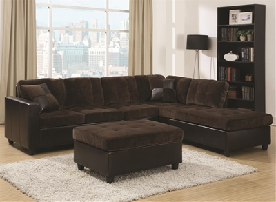 Contemporary Plush Brown Velvet Sectional