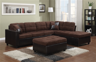 Plush Chocolate Microfiber Sectional Sofa