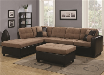 Plush Tan Microfiber Sectional Sofa