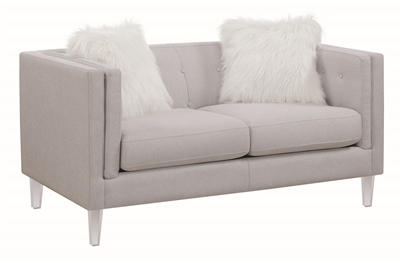 Hemet Modern Gray Loveseat with Clear Acrylic Legs