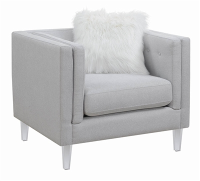 Hemet Modern Gray Chair with Clear Acrylic Legs