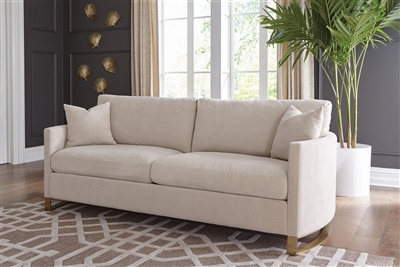 Beige Textured Chenille Upholstered Sofa with Brass Legs