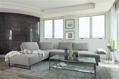 Modern Woven Fabric Sectional With Black Powder Coated Base