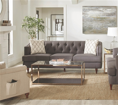 Transitional Style Tufted Gray Barrel Style Sofa