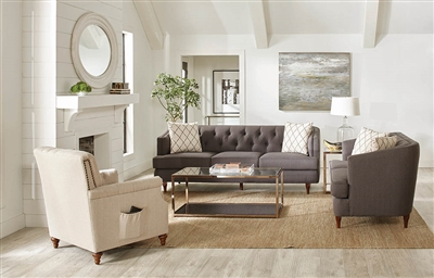 Transitional Style Tufted Gray Barrel Style Loveseat