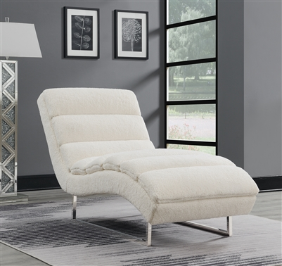Melody Plush Textured Faux Sheepskin Chaise Lounge